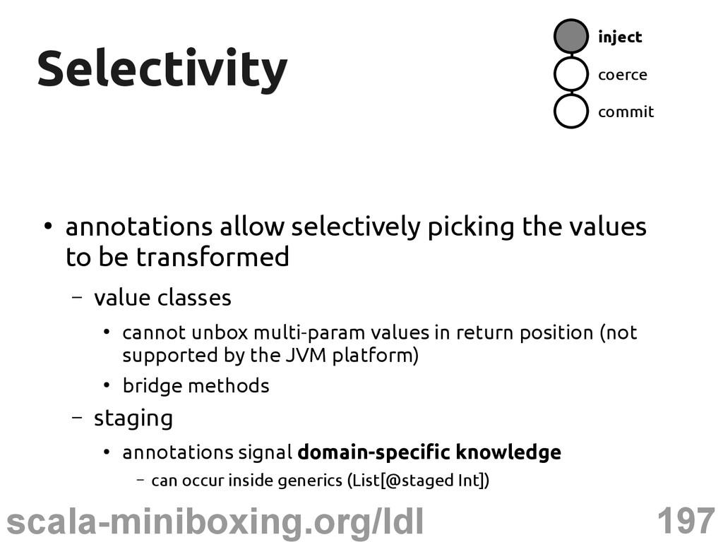 197 scala-miniboxing.org/ldl Selectivity Select...