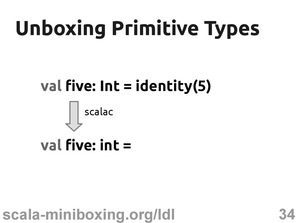 34 scala-miniboxing.org/ldl Unboxing Primitive ...