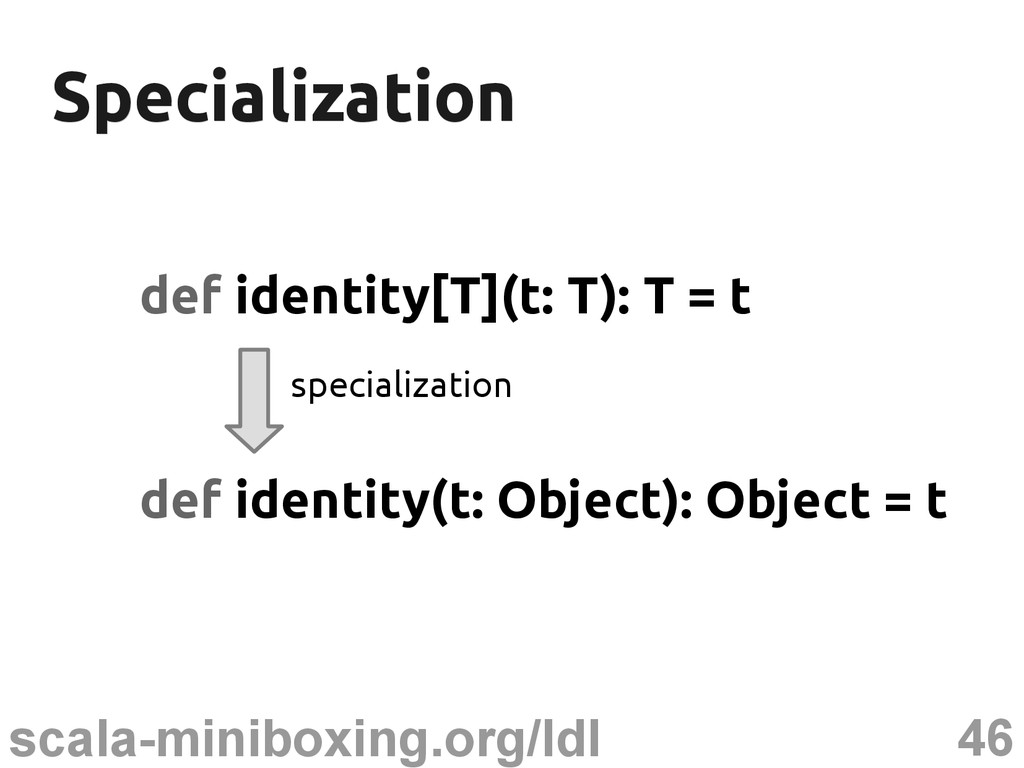 46 scala-miniboxing.org/ldl Specialization Spec...