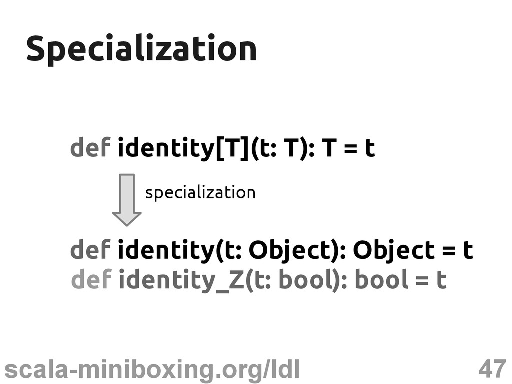 47 scala-miniboxing.org/ldl Specialization Spec...