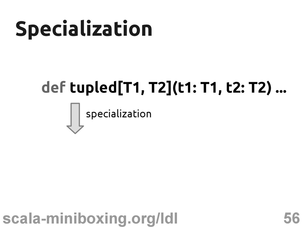 56 scala-miniboxing.org/ldl Specialization Spec...