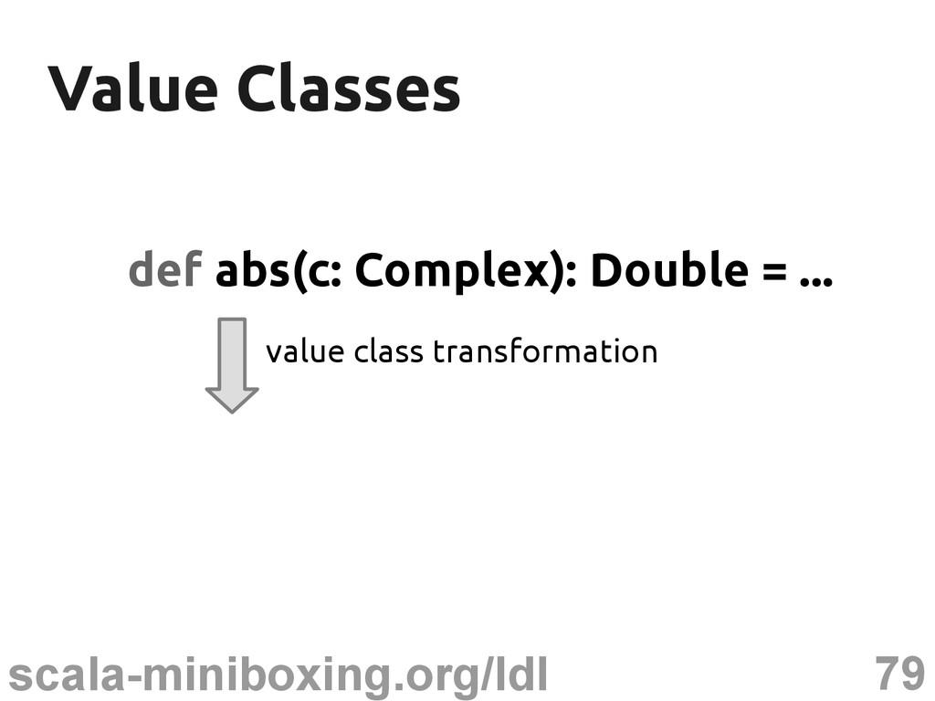 79 scala-miniboxing.org/ldl Value Classes Value...