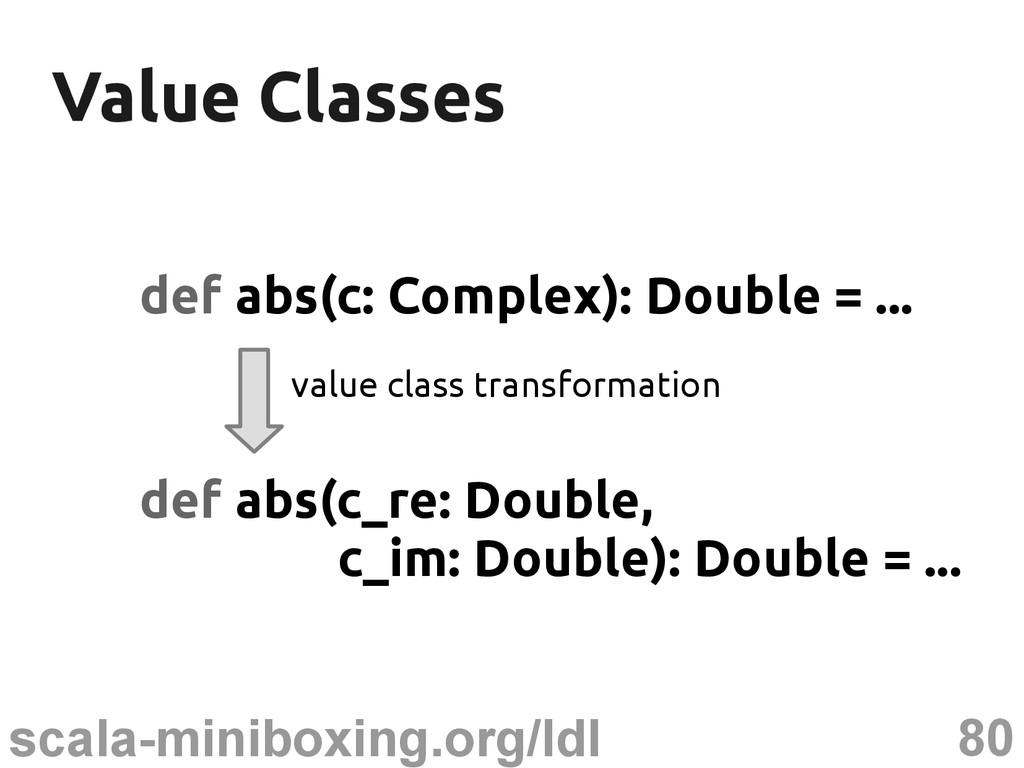 80 scala-miniboxing.org/ldl Value Classes Value...