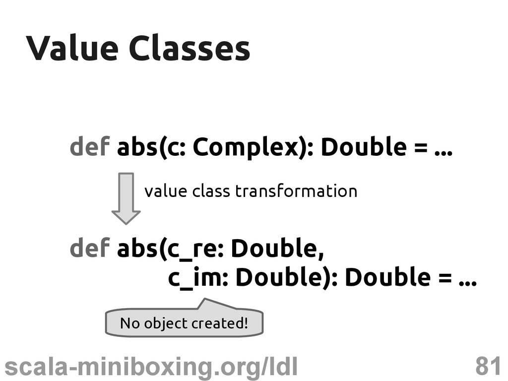 81 scala-miniboxing.org/ldl Value Classes Value...