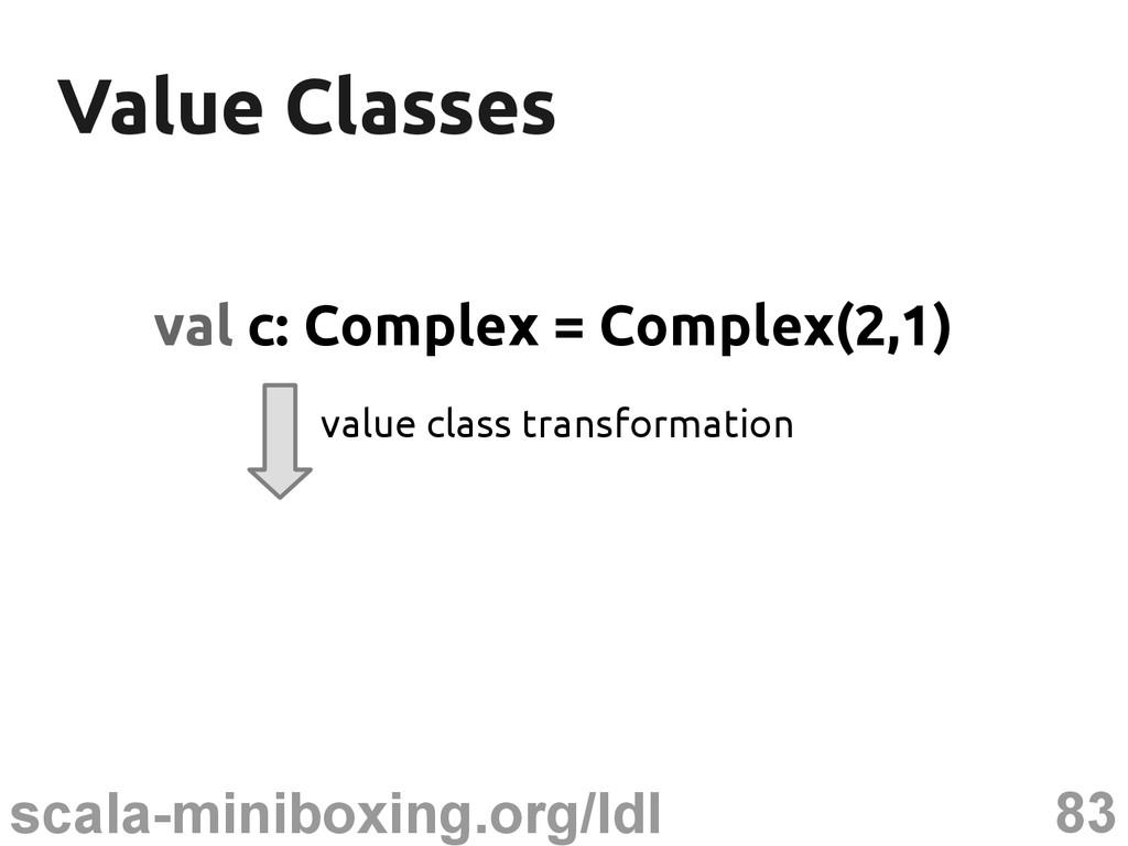 83 scala-miniboxing.org/ldl Value Classes Value...