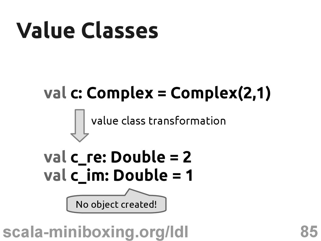 85 scala-miniboxing.org/ldl Value Classes Value...