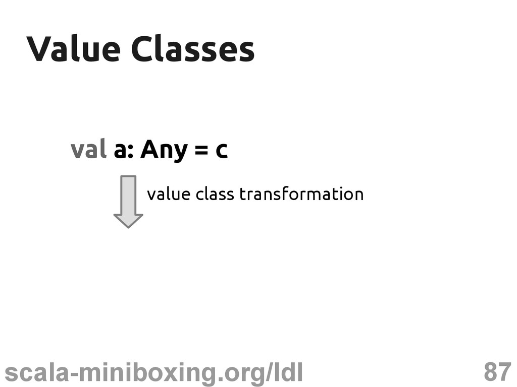 87 scala-miniboxing.org/ldl Value Classes Value...