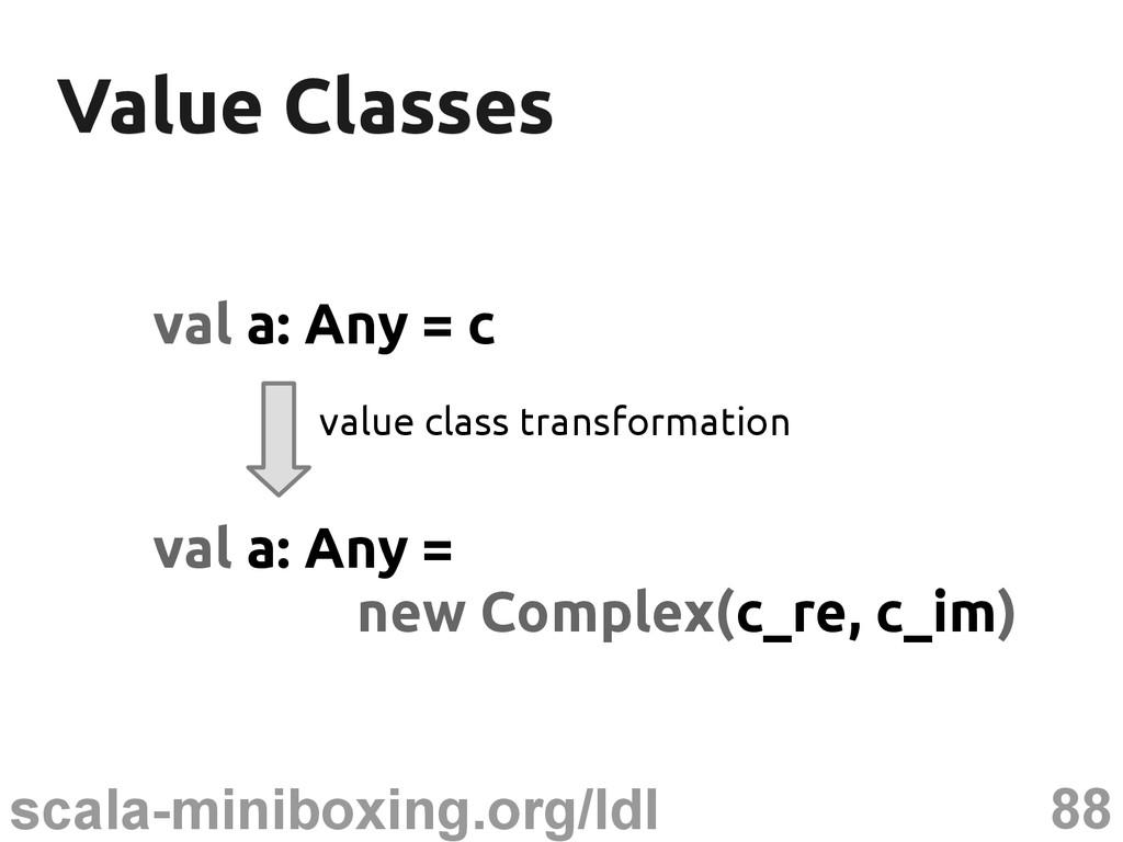 88 scala-miniboxing.org/ldl Value Classes Value...