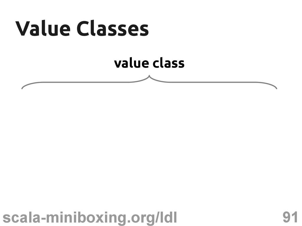 91 scala-miniboxing.org/ldl Value Classes Value...