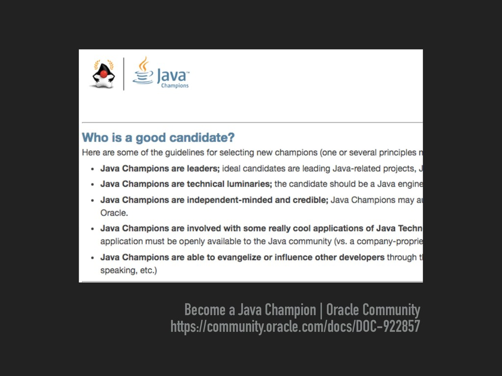 Become a Java Champion | Oracle Community https...