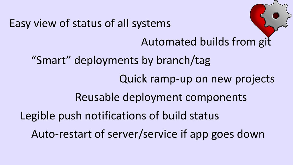 Easy view of status of all systems Automated bu...