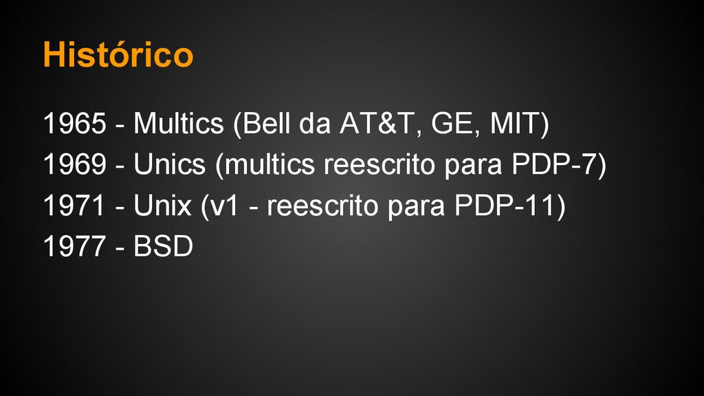 Histórico 1965 - Multics (Bell da AT&T, GE, MIT...