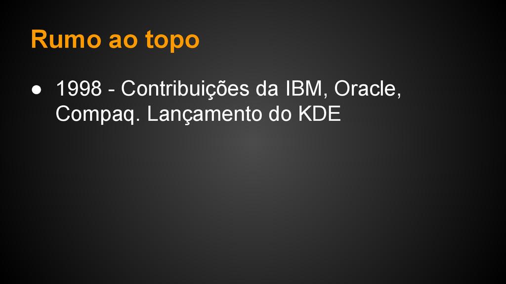 Rumo ao topo ● 1998 - Contribuições da IBM, Ora...
