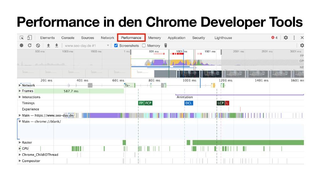 Performance in den Chrome Developer Tools