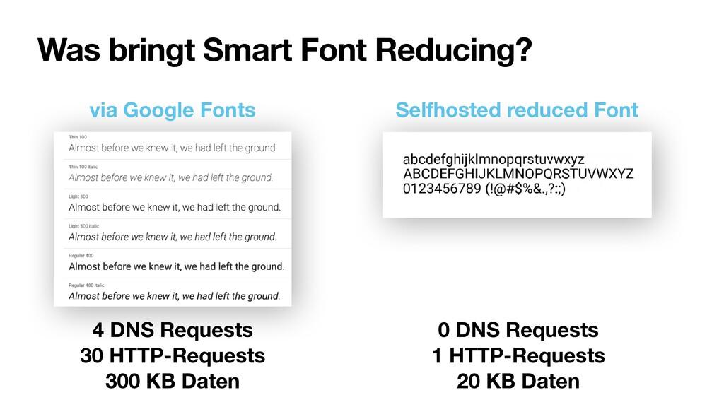 Was bringt Smart Font Reducing? 4 DNS Requests...