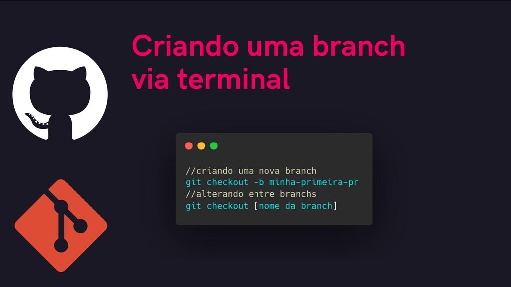 Criando uma branch via terminal