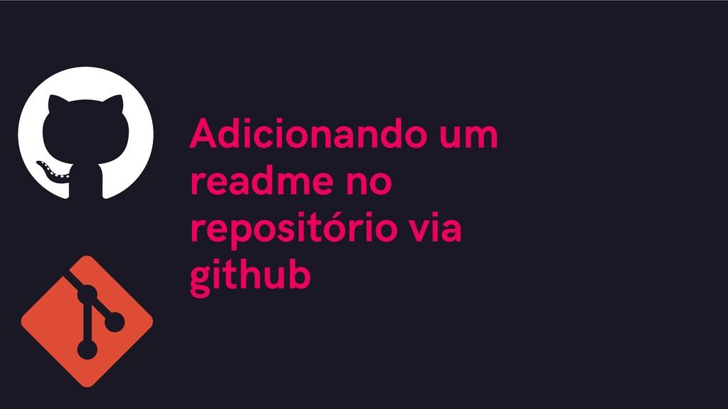 Adicionando um readme no repositório via github