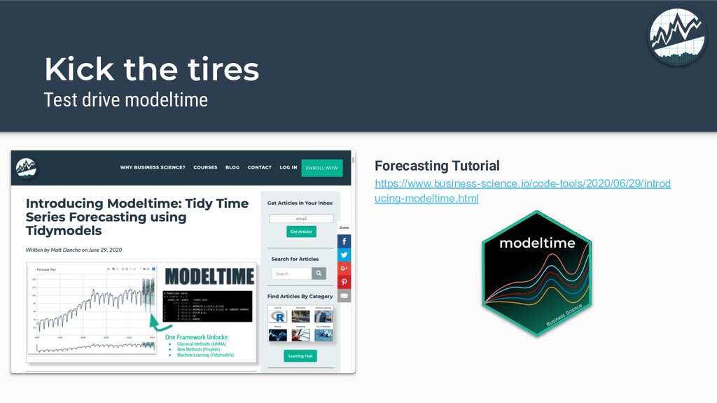 Kick the tires Test drive modeltime Forecasting...