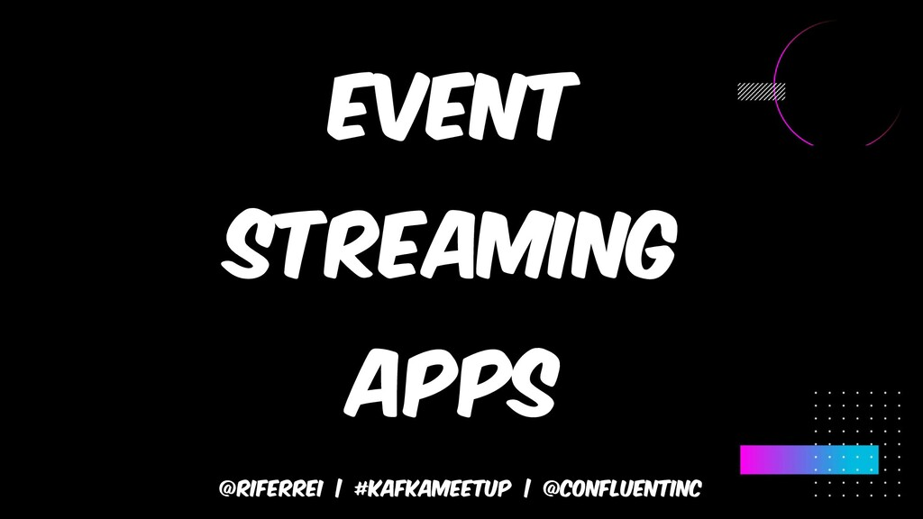 @riferrei | #kafkameetup | @CONFLUENTINC Event ...