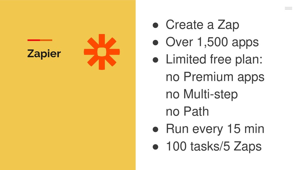 ● Create a Zap ● Over 1,500 apps ● Limited free...