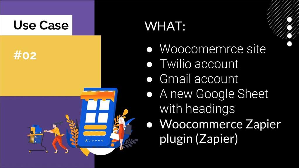 Use Case #02 WHAT: ● Woocomemrce site ● Twilio ...
