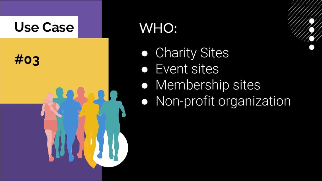 Use Case #03 WHO: ● Charity Sites ● Event sites...