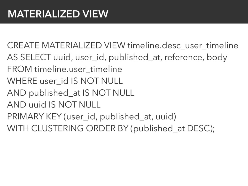 MATERIALIZED VIEW CREATE MATERIALIZED VIEW time...