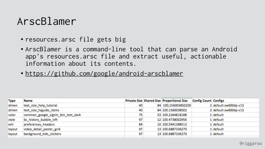 @riggaroo ArscBlamer • resources.arsc file gets...
