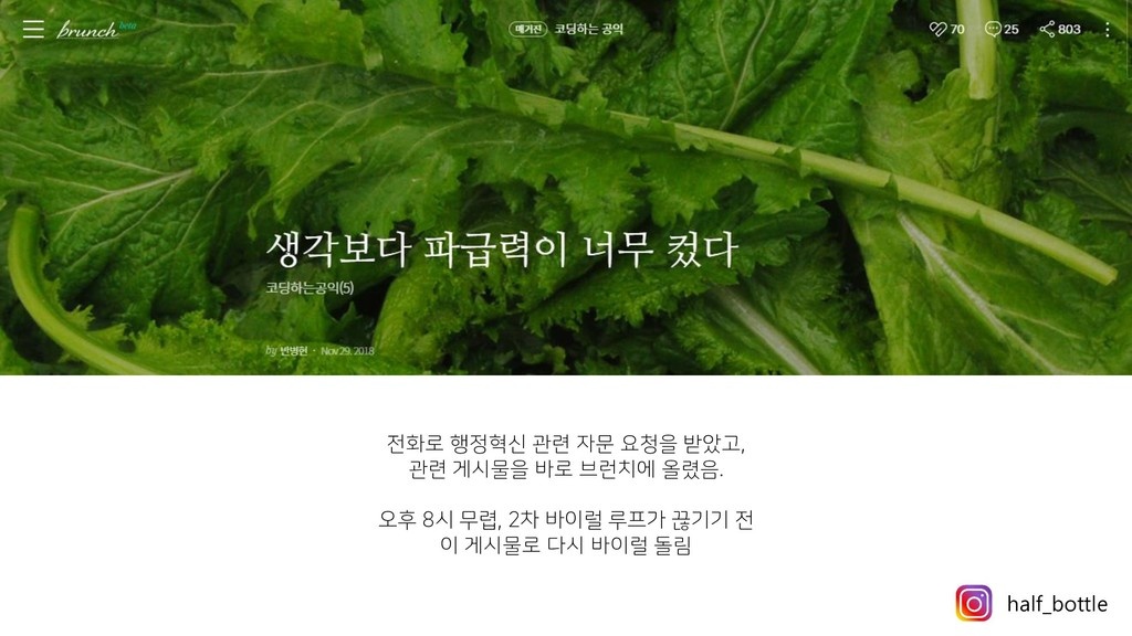 전화로 행정혁신 관련 자문 요청을 받았고, 관련 게시물을 바로 브런치에 올렸음. 오후...