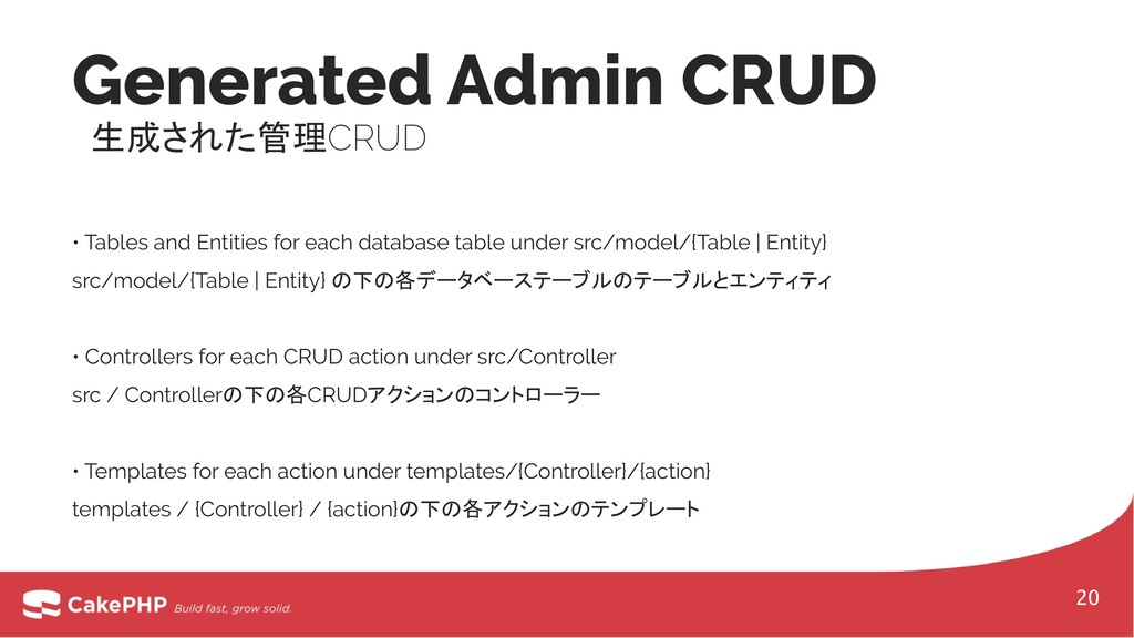 Generated Admin CRUD 生成された管理CRUD • Tables and E...