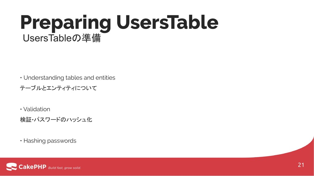 • Understanding tables and entities テーブルとエンティティ...
