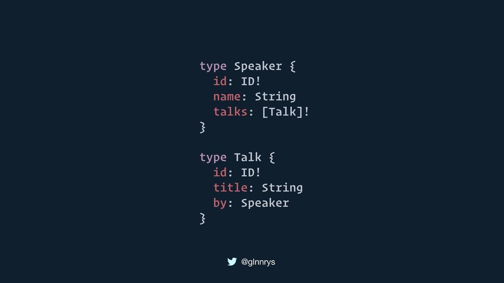 @glnnrys type Speaker { id: ID! name: String ta...