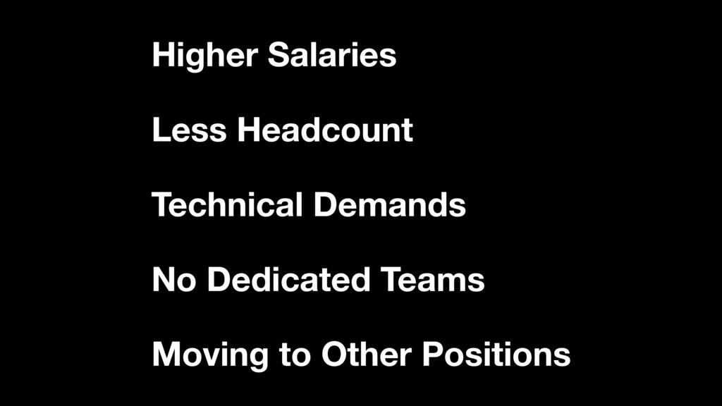 Higher Salaries Less Headcount Technical Demand...