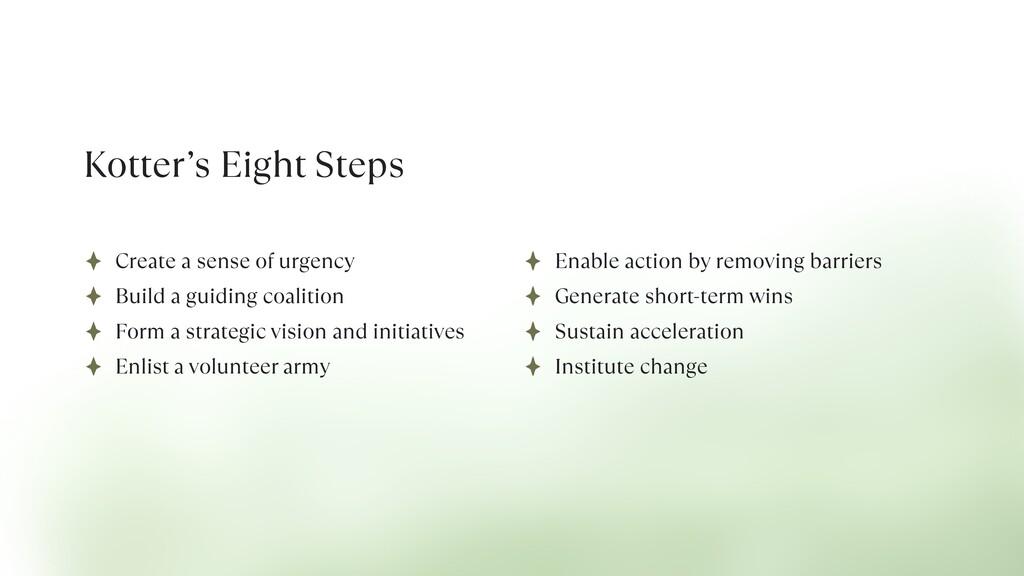 Kotter's Eight Steps Create a sense of urgency ...