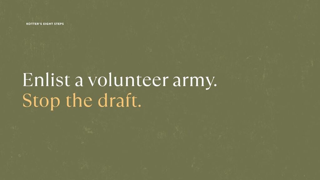 Enlist a volunteer army. Stop the draft. KOTTER...
