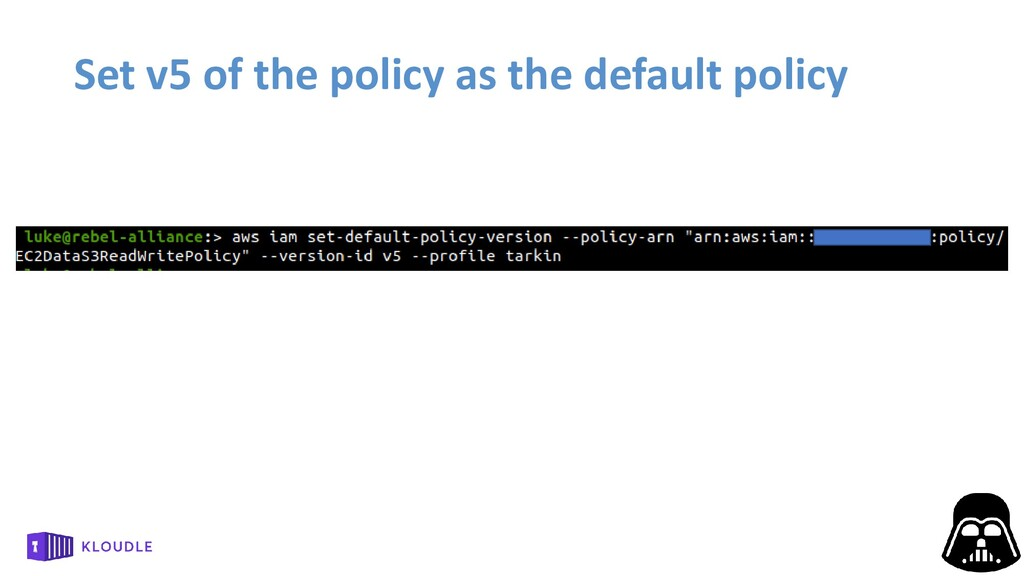 Set v5 of the policy as the default policy