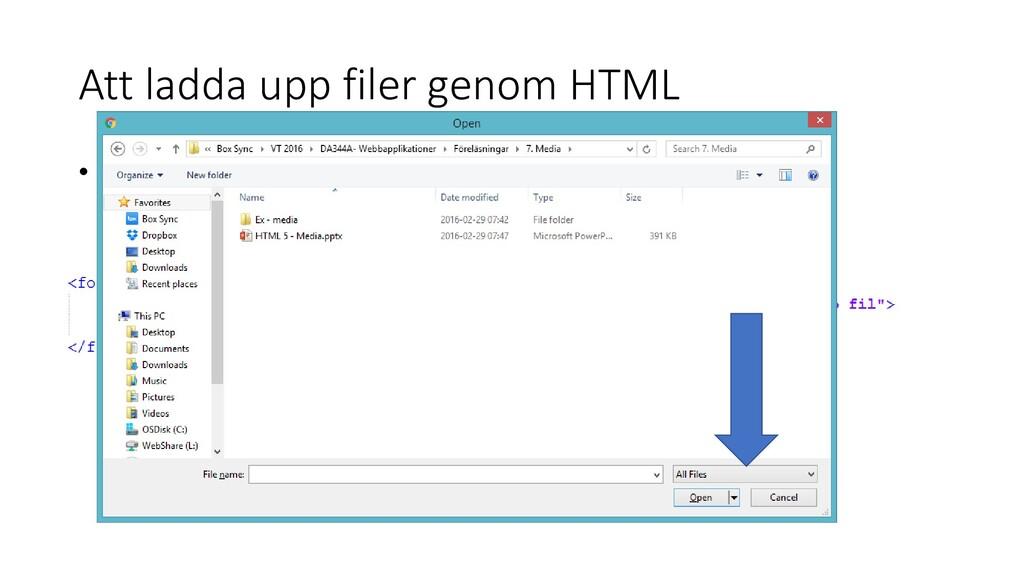 Att ladda upp filer genom HTML • Vi behöver ett...