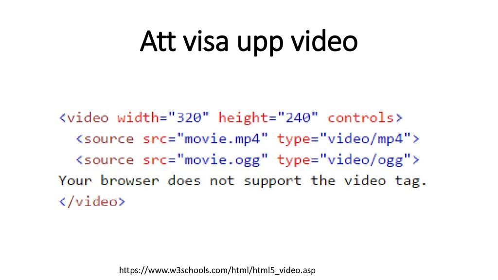 Att visa upp video https://www.w3schools.com/ht...