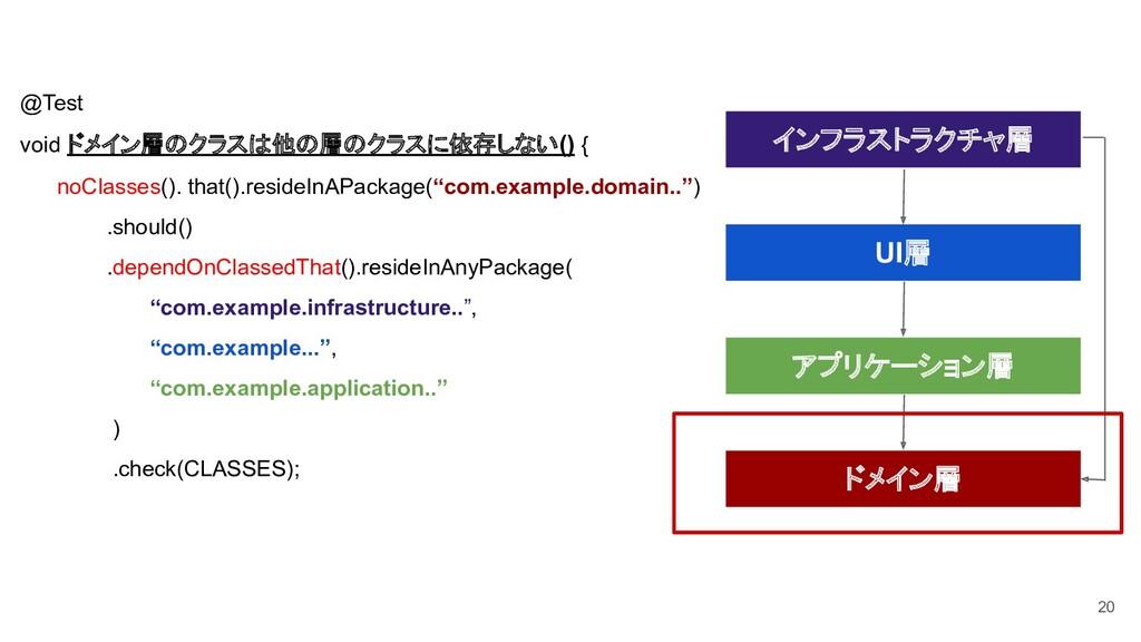 20 @Test void ドメイン層のクラスは他の層のクラスに依存しない() { noCla...