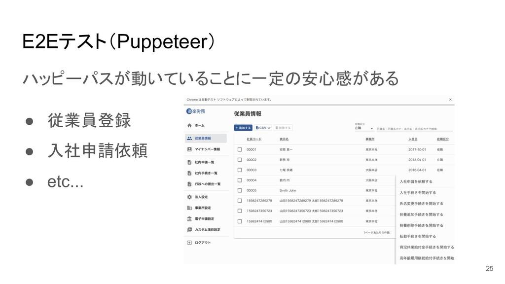 E2Eテスト(Puppeteer) ハッピーパスが動いていることに一定の安心感がある ● 従業...