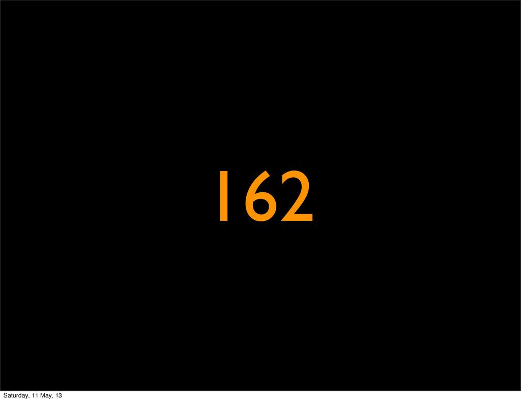 162 Saturday, 11 May, 13