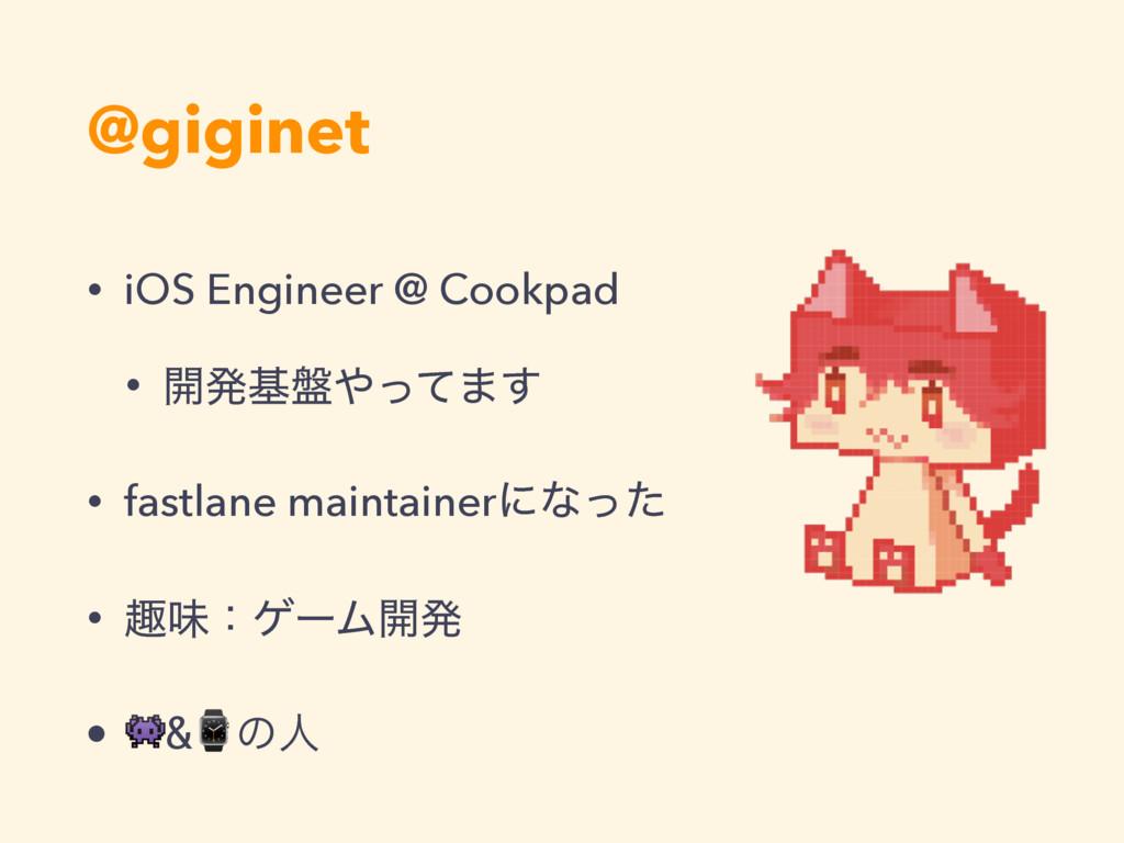 @giginet • iOS Engineer @ Cookpad • ։ൃج൫ͬͯ·͢ •...