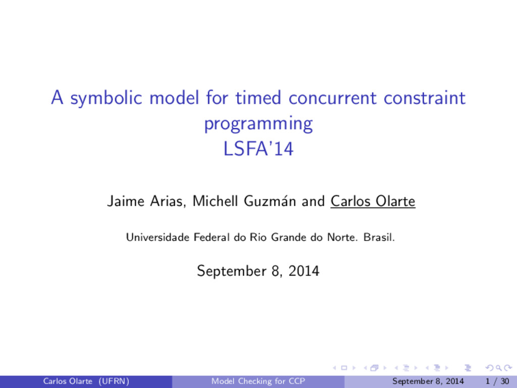 A symbolic model for timed concurrent constrain...