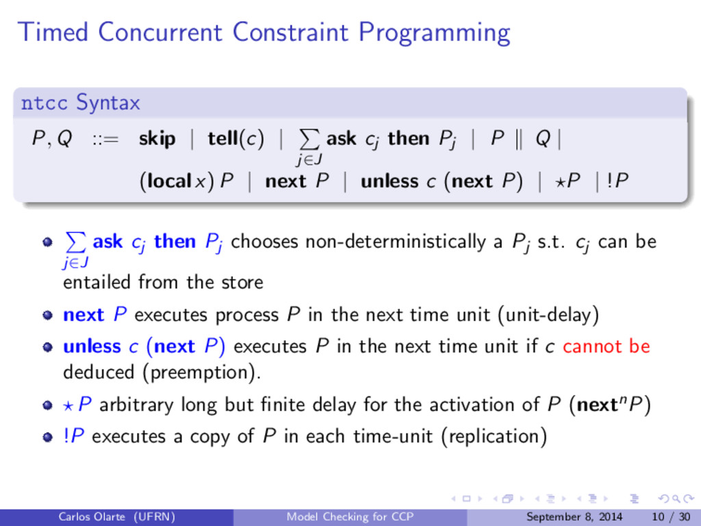 Timed Concurrent Constraint Programming ntcc Sy...