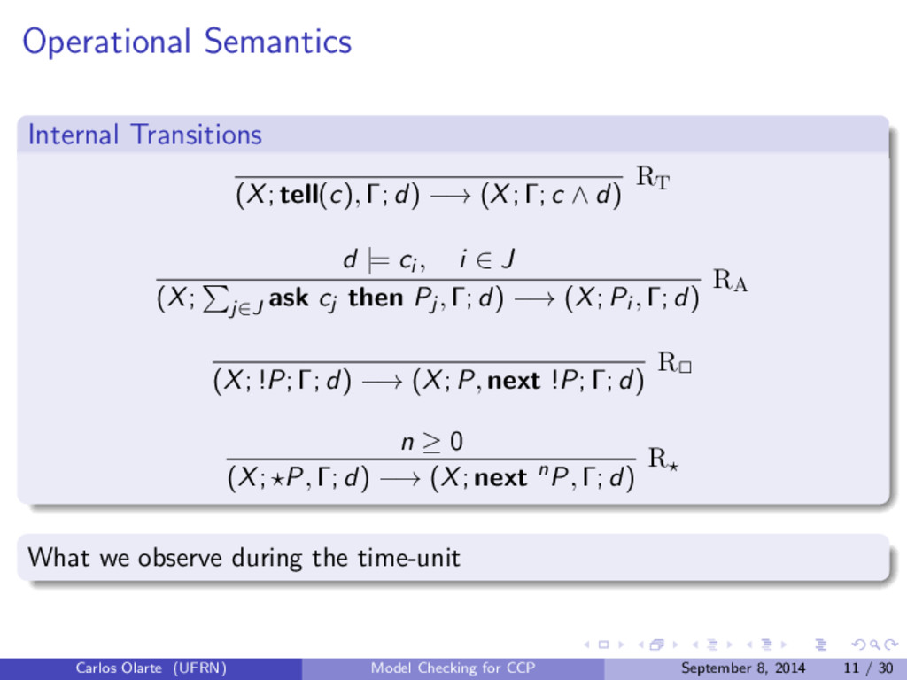 Operational Semantics Internal Transitions (X; ...