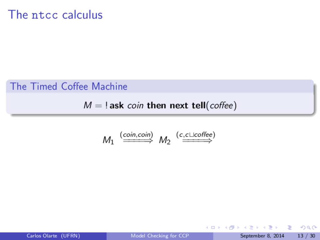 The ntcc calculus The Timed Coffee Machine M = !...