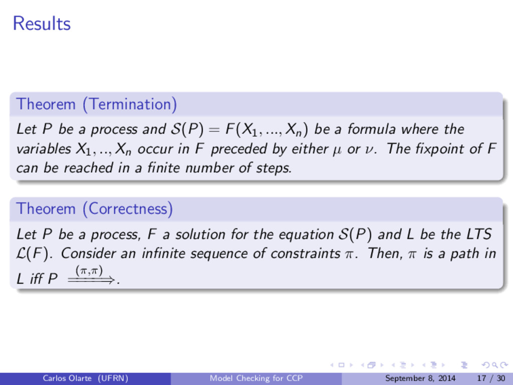 Results Theorem (Termination) Let P be a proces...