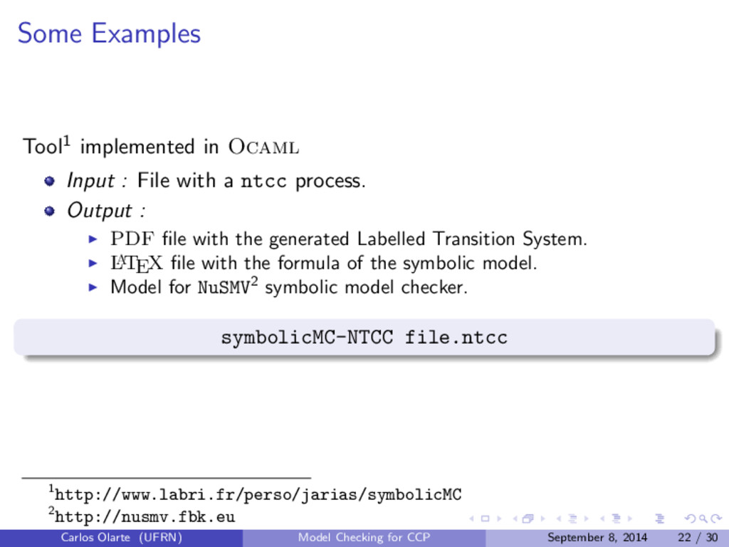 Some Examples Tool1 implemented in Ocaml Input ...