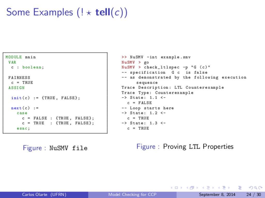 Some Examples (! tell(c)) MODULE main VAR c : b...